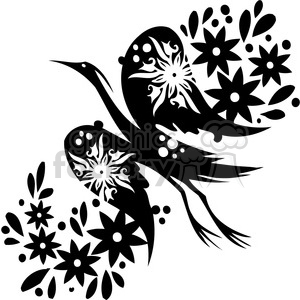 black+white swirl designs tattoo Chinese Asian floral organic vinyl+ready flowers bird crane
