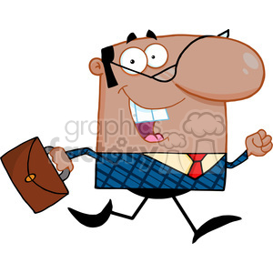 Clipart of Lucky African American Business Manager Running To Work With Briefcase clipart. Royalty-free image # 386849