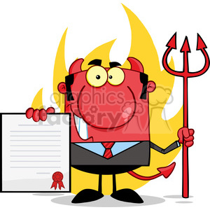 Clipart of Smiling Devil Boss With A Trident Holds Up A Contract In Front Of Flames clipart. Royalty-free image # 386869