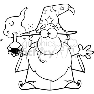clipart of crazy wizard holding a green magic potion