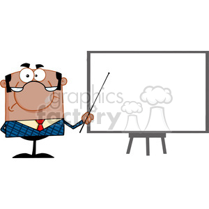 Clipart of Angry African American Business Manager With Pointer Presenting On A Board clipart. Commercial use image # 386889