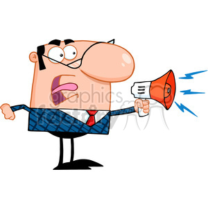 Royalty Free Excited Business Manager Speaking Through A Megaphone clipart. Commercial use image # 386899