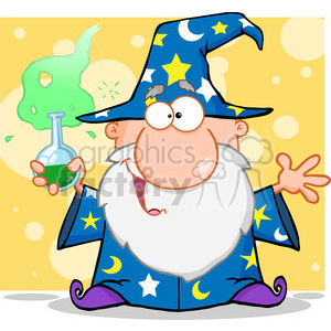 RF Crazy Wizard Holding A Green Magic Potion clipart. Royalty-free image # 386929
