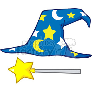 Clipart of Wizard Hat And Magic Stick clipart. Royalty-free image # 386939