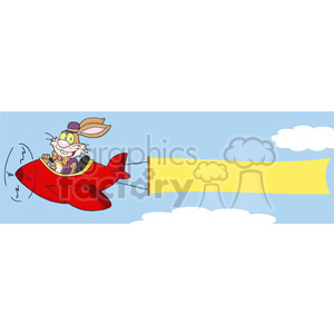 Clipart of Easter Bunny Flying With Plane And A Blank Banner Attached clipart. Royalty-free image # 386949