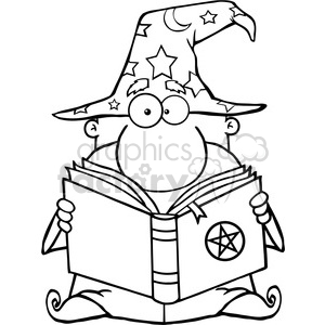 clipart of funny wizard holding a magic book
