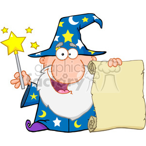 Royalty Free Funny Wizard Waving With Magic Wand And Holding Up A Scroll clipart. Royalty-free image # 386989