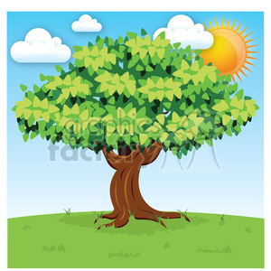vector cartoon big tree on sunny day clipart. Commercial use image # 387160