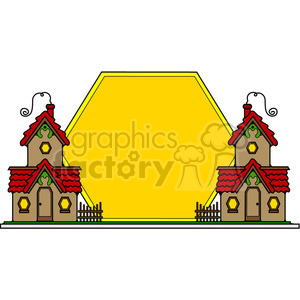 Cottages Sunset Sign color clipart. Commercial use image # 387210
