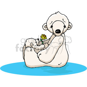 Polar Bear 2 and Baby in color clipart. Royalty-free image # 387400