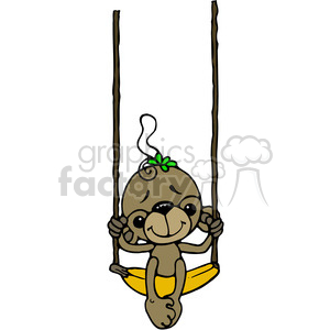 Monkey on Banana Swing in color clipart. Commercial use image # 387601