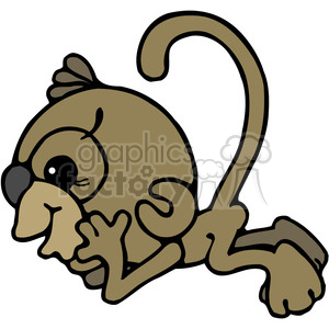 Monkey Sideview in color clipart. Commercial use image # 387654