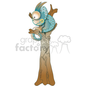 Chameleon in Tree 04 clipart. Royalty-free image # 387669