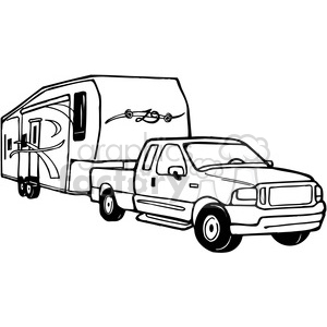 Truck and RV Camper Trailer clipart. Royalty-free image # 387709