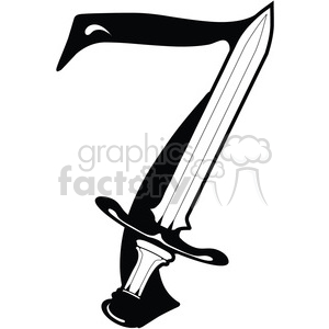 Number 7 Sword clipart. Royalty-free image # 387719