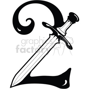 Number 2 Sword clipart. Royalty-free image # 387738