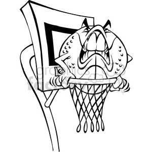 cartoon basketball character ball bw clipart. Royalty-free image # 387796