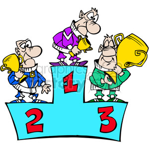 cartoon funny silly comical characters 1st 2nd 3rd third first second winner podium competition