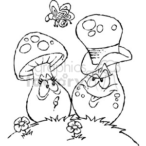 black and white cartoon mushrooms clipart. Royalty-free image # 387836
