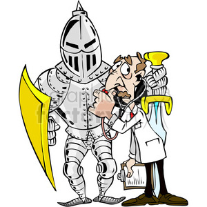 cartoon funny silly comical characters knight armor doctor