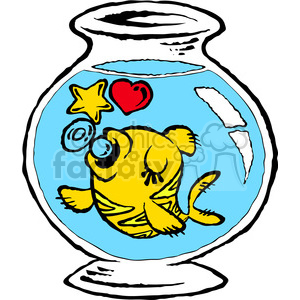 cartoon funny silly comical characters fish goldfish fish+bowl