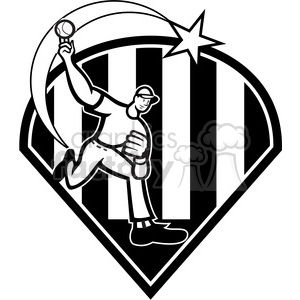 black and white pitcher throw ball front strike clipart. Commercial use image # 387870