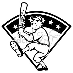 black and white baseball player batting front kick diamond full clipart. Commercial use image # 387880