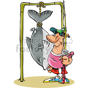 cartoon fishermen his catch clipart. Commercial use image # 387912