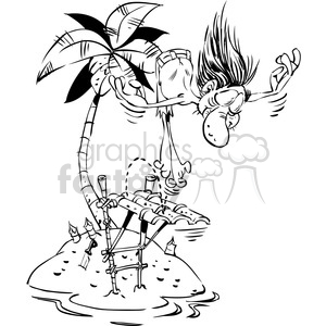 cartoon man diving from homemade diving board clipart. Commercial use image # 387922