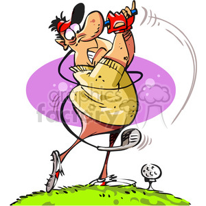 cartoon golfer swinging his club clipart. Commercial use image # 387932