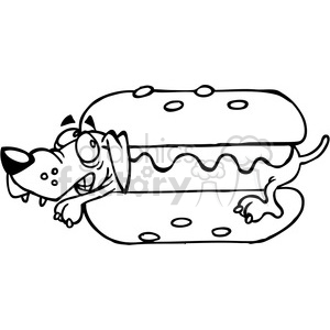 black white cartoon hot dog dachshund clipart. Commercial use image # 387962