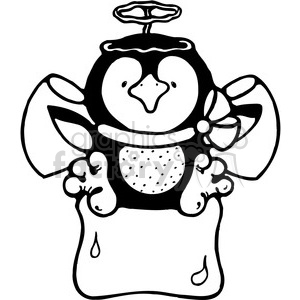 cartoon Christmas penguin black+white angel