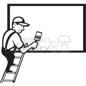 black and white worker painting billboard blank clipart. Royalty-free image # 388095