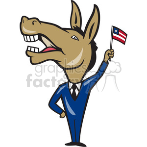 donkey democrat waving flag clipart. Commercial use image # 388135