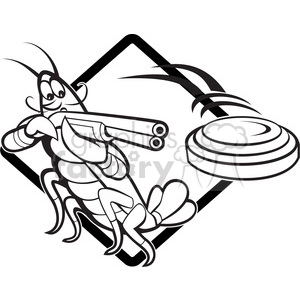 black and white crayfish skeet shotgun clipart. Royalty-free image # 388145