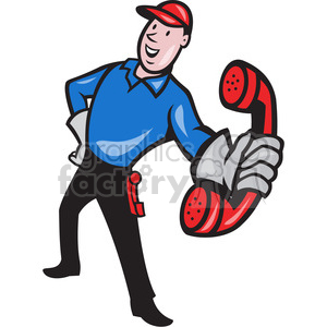 telephone repairman handing phone EPS10 clipart. Royalty-free image # 388155