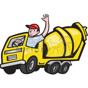 cement mixer driver wave clipart. Commercial use image # 388175
