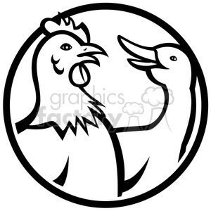 black and white chicken goose clipart. Royalty-free image # 388185