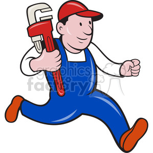 plumber monkey wrench running 001 clipart. Royalty-free image # 388195