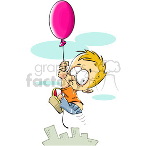 little boy floating away on a balloon clipart. Royalty-free image # 388225