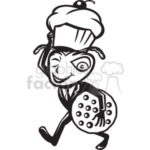 black and white ant carry cupcake cookie clipart. Royalty-free image # 388245