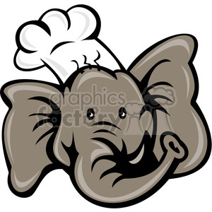 elephant head chef clipart. Commercial use image # 388265