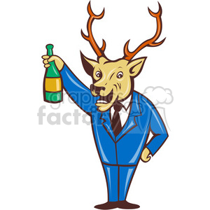 cartoon deer wine champagne party