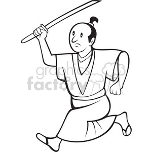 black and white cartoon samuri with sword side clipart. Royalty-free image # 388295