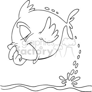 cartoon fish jumping out of water in black and white clipart. Royalty-free image # 388315