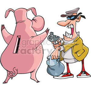man robbing a piggy bank clipart. Royalty-free image # 388335
