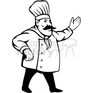 cartoon chef cook restaurant hand raised black+white