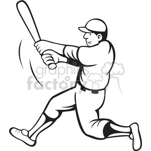 baseball batter swinging black white clipart clipart. Royalty-free image # 388385