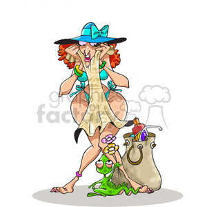 female scared of a small lizard clipart. Royalty-free image # 388393