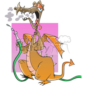 cartoon dragon water hose smoke fire funny dragons